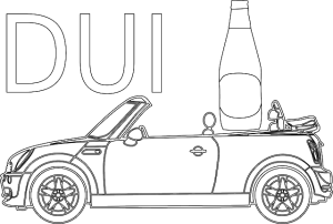 A picture of a car with alcohol bottle and dui